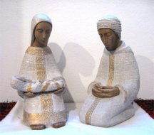 Holy family in Pyrenean Stone - Creche Paysanne